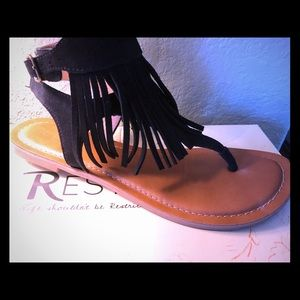 Suede Fringe Sandal with Buckle.